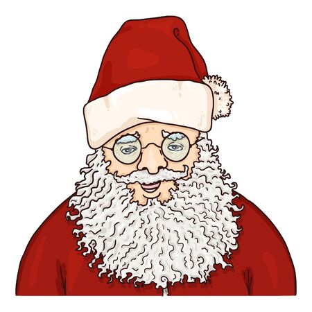 Vector Cartoon Santa Claus in Eyeglasses. Christmas Character on Isolated White Background