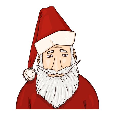 Vector Cartoon Santa Claus. Christmas Character on Isolated White Background