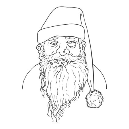 Vector Outline Homeless Poor Santa Claus Character