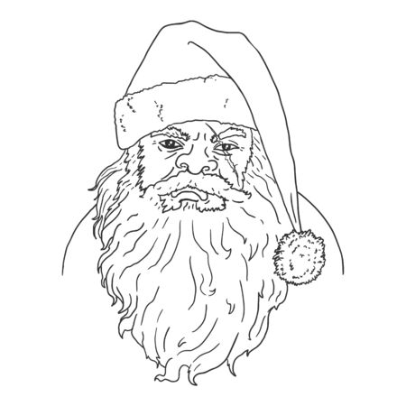 Vector Outline Angry Santa Claus Character