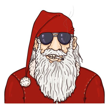 Vector Cartoon Biker Santa Claus in Sunglasses. Christmas Character on Isolated White Background