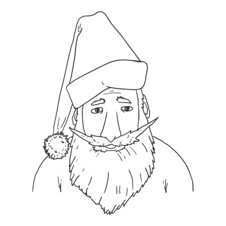Vector Outline Santa Claus Character Illustration