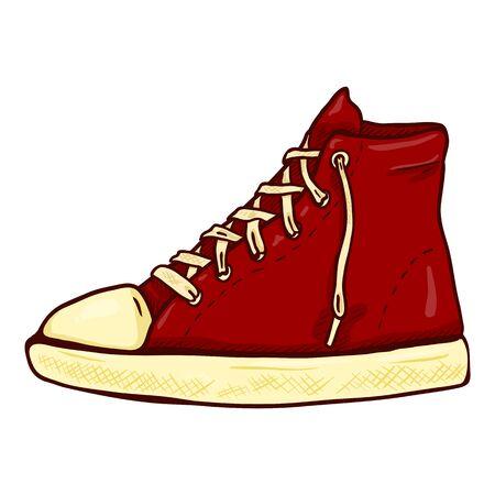 Red Gumshoe. Vector Cartoon Illustration Side View of Single Shoe Illustration