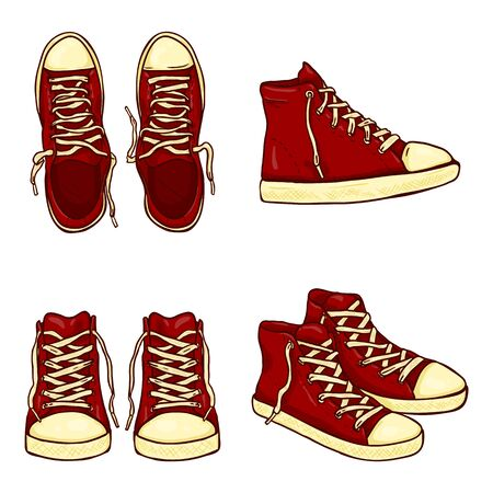 Vector Set of Cartoon High Red Gumshoes. Side, Top and Front Views.