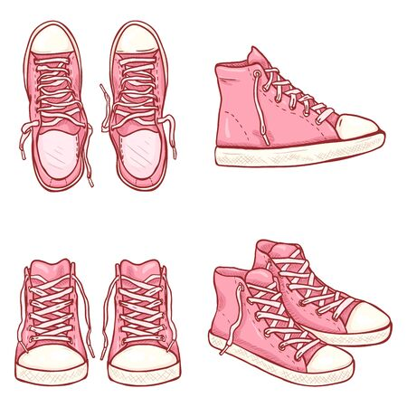 Vector Set of Cartoon High Pink Gumshoes. Side, Top and Front Views.