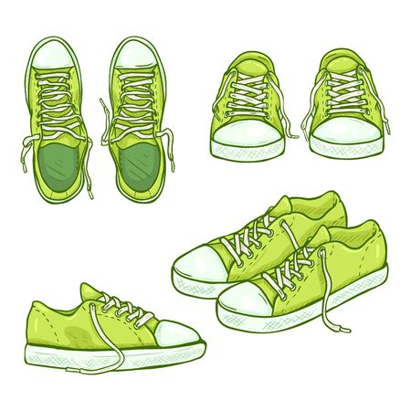 Vector Set of Cartoon Green Gumshoes. Side, Top and Front Views.