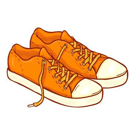 Orange Gumshoes. Vector Cartoon Footwear Illustration.