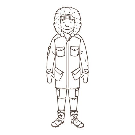 Vector Outline Character - Young Man in Winter Outfit