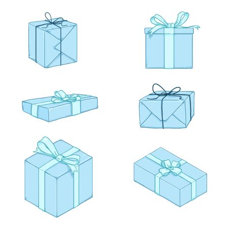 Vector Set of Cartoon Blue Gift Boxes with Ribbons and Bows.