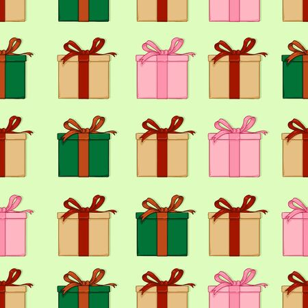 Vector Seamless Pattern of Cartoon Gift Boxes