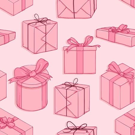 Vector Seamless Pink Pattern of Cartoon Gift Boxes