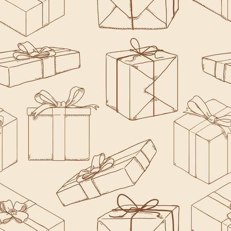 Vector Seamless Pattern of Sketch Gift Boxes on Beige Background.