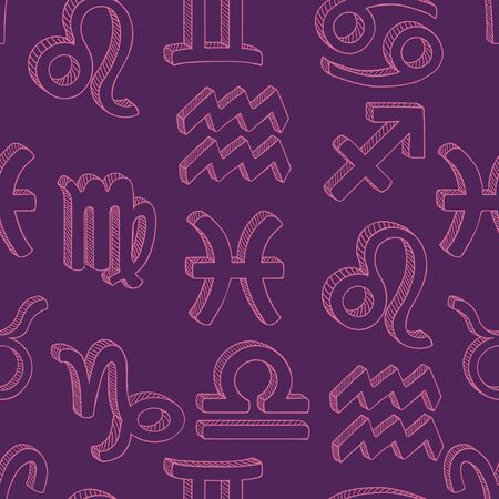 Vector Seamless Pattern of Sketch Zodiac Signs. Neon Light Astrological Background.