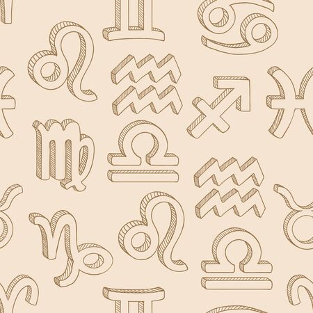 Vector Seamless Pattern of Penciling Sketch Zodiac Signs. Beige Astrological Background.