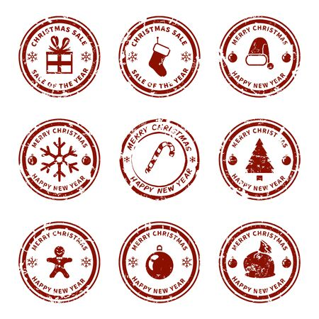 Vector Set of Red Christmas Seal Stamps on Isolated White Background