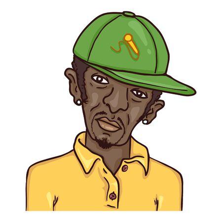 Vector Cartoon Avatar - Afro American Man in Baseball Cap. Male Character Portrait. Ilustrace