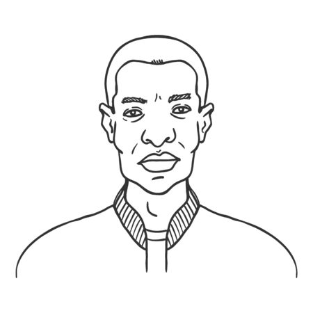 Vector Outline Avatar - Young Afro American Man in Baseball Jacket. Male Character Portrait.