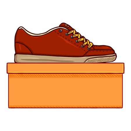 Vector Cartoon Red Skater Shoes avec Shoebox