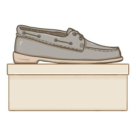 Vector Cartoon Gray Textile Shoes with Shoebox