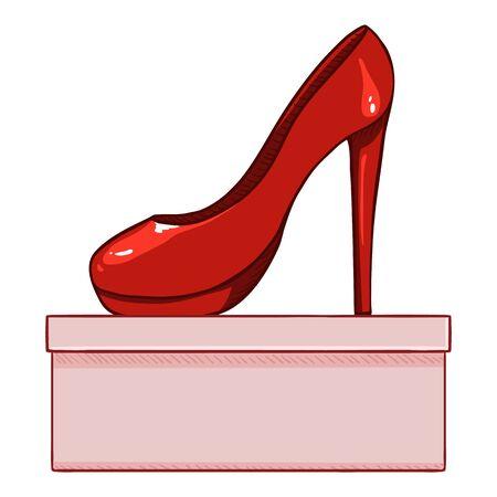 Vektor-Cartoon-rote Frauen-High-Heels-Schuhe mit Schuhkarton Vektorgrafik