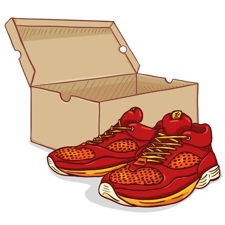Vector Cartoon Red Running Shoes with Shoebox