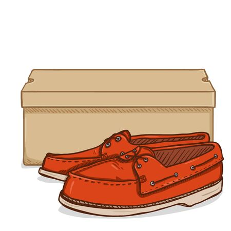 Vector Cartoon Red Topsider Shoes with Shoebox