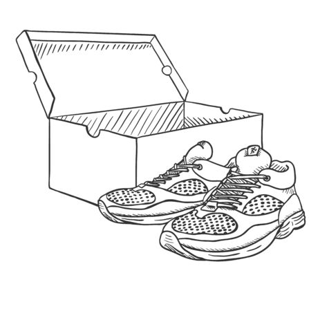 Vector Sketch Running Shoes with Open Shoebox