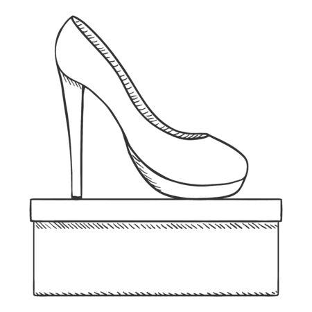 Vector Sketch Women High Heels Shoes with Shoebox Stock Illustratie