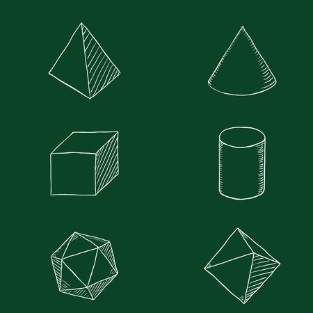 Vector Set of Chalk Hand Drawn Sketch Geometry Shapes Stock Illustratie