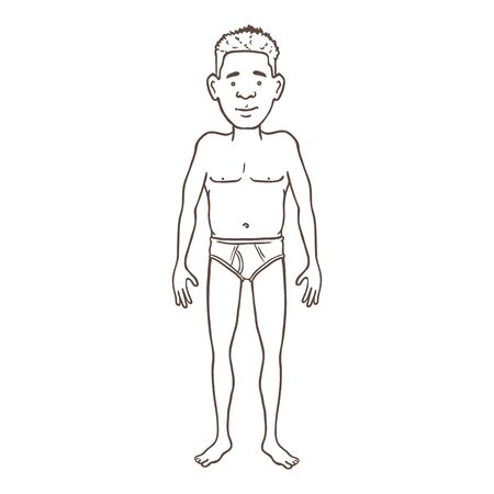Vector Outline Character - Young Afroamerican Man in Underpants