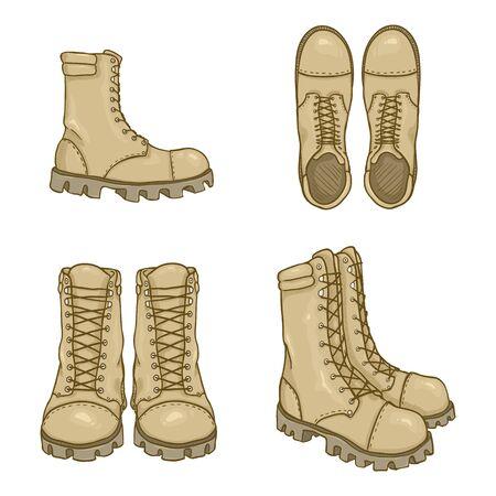 Vector, conjunto, de, caricatura, beige, ejército, botas, ilustración