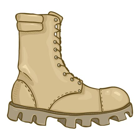 Stivali dell'esercito beige del fumetto di vettore. Scarpa Militare Alta Color Sabbia. Vista laterale.