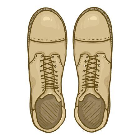 Vector Cartoon Beige Army Boots. Sand Color High Military Shoes. Top View. Vektoros illusztráció