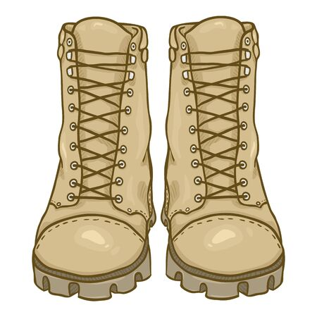 Vector Cartoon Beige Army Boots. Sand Color High Military Shoes. Front View.