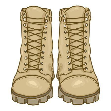 Vector de dibujos animados beige botas del ejército. Zapatos Militares Altos Color Arena. Vista frontal.