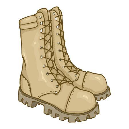 Vector Cartoon Beige Army Boots. Sand Color High Military Shoes. Векторная Иллюстрация