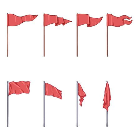 Vector Set of Cartoon Red Flags on Flagpoles
