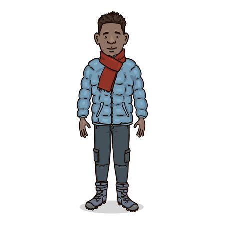 Vector Cartoon Character - Young Afroamerican Man in Winter Clothes Ilustração