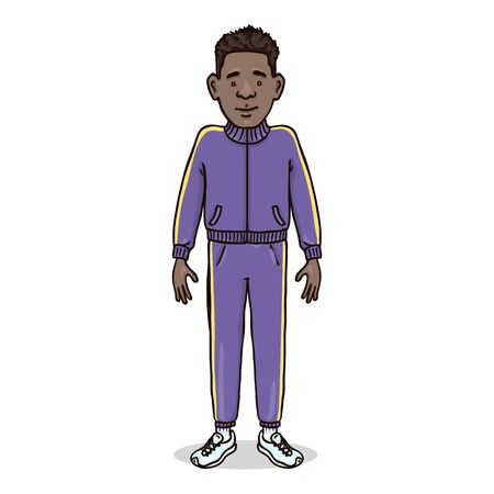 Vektor-Cartoon-Figur - afroamerikanischer Mann in blauem Sportanzug und Laufschuhen Vektorgrafik