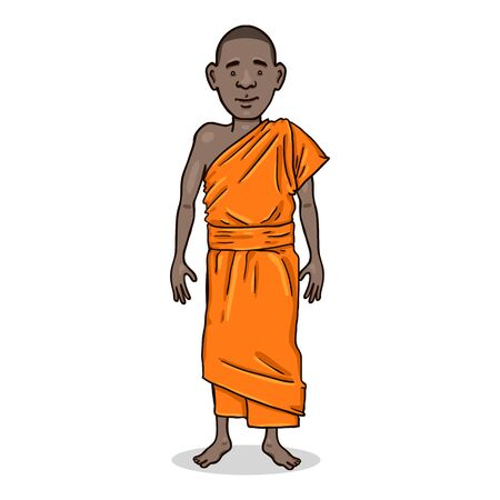 Vector Cartoon Character - Young African Man in Monastic Robes. Buddhist Monk Illustration.