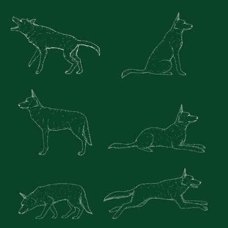 Vector Set of Chalk Sketch German Shepherd Dog Illustrations