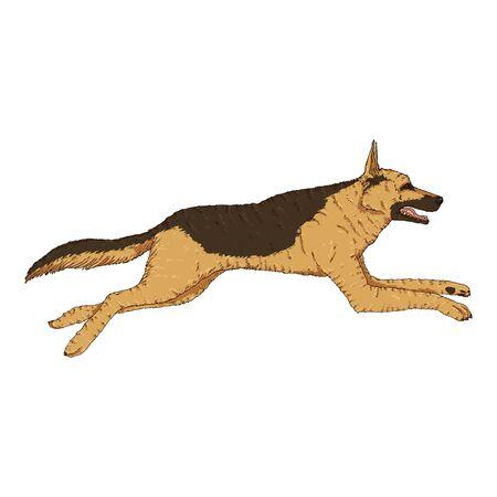 Vector Cartoon Jumping German Shepherd Dog Illustration Illusztráció