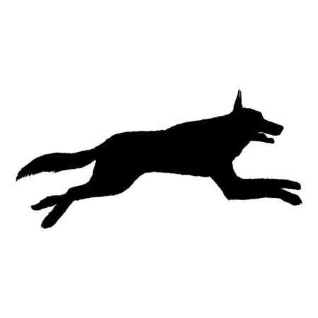 Vector Silhouette of Jumping German Shepherd Dog Illustration