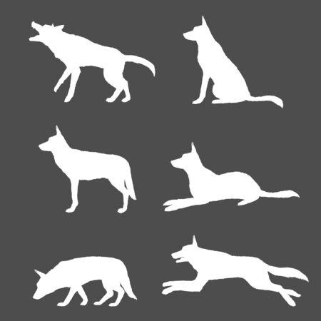 Vector Set of White Silhouette German Shepherd Dog Illustrations