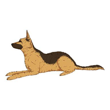 Vector Cartoon Lying German Shepherd Dog Illustration