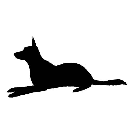 Vector Silhouette Lying German Shepherd Dog Illustration