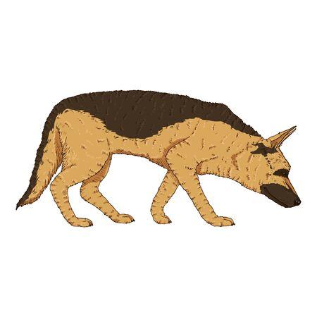 Vector Cartoon Searching German Shepherd Dog Illustration Illusztráció