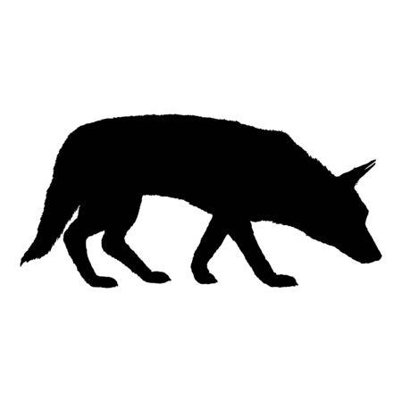 Vector Silhouette of Searching German Shepherd Dog Illustration