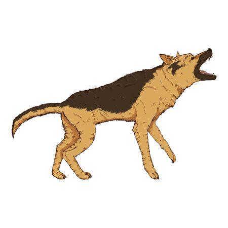 Vector Cartoon Barking German Shepherd Dog Illustration