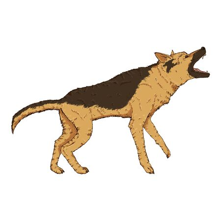Vector Cartoon Barking German Shepherd Dog Illustration